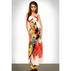 3328-1 Długa sukienka zakładana na jedno ramię - czerwony...