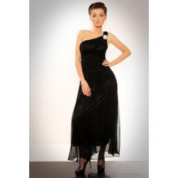 2506-4 Długa tiulowa suknia na jedno ramię - czarny...