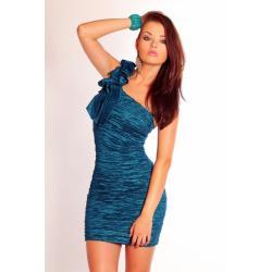 2502-2 Marszczona sukienka zakładana na jedno ramię - morski...