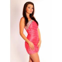 1001-7  Elegancka sukienka marszczona na jedno ramię z kamieniami - arbuzowy...
