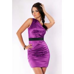 2401-2 Elegancka sukienka zakładana na jedno ramię z czarnym paskiem pod biustem...