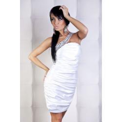 1001-5  Elegancka sukienka marszczona na jedno ramię z kamieniami - biały...