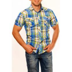 3326-1 Męska koszula na krótki rękaw w kratkę - niebieski...