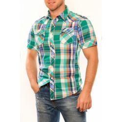 3325-2 Męska koszula na krótki rękaw w kratkę - zielony...