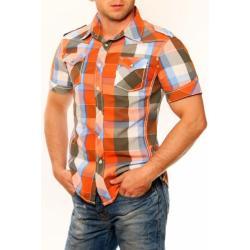 3325-1 Męska koszula na krótki rękaw w kratkę - pomarańczowy...