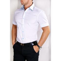 2316-1 Męska koszula na krótki rękaw ze wstawkami w kwiatki - biały...