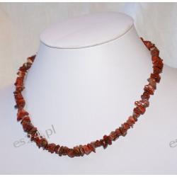 Naszyjnik z jaspisu czerwonego Biżuteria i Zegarki