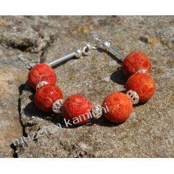 Bransoleta z koralu w srebrze Wisiorki