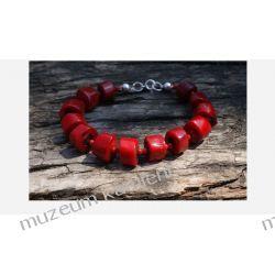 Piękny koral w srebrze - bransoleta Biżuteria i Zegarki
