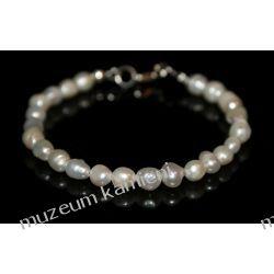 Bransoleta z pereł w srebrze B229 Biżuteria i Zegarki