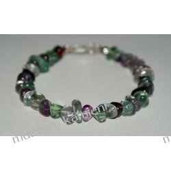 Fluoryt - piękna bransoleta w srebrze B240 Biżuteria i Zegarki
