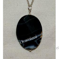 Piękny wisior z onyksu w srebrze WA157 Biżuteria i Zegarki