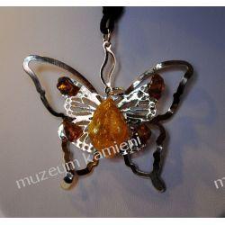 Motyl - piękny wisior z bursztynkami W007 Biżuteria i Zegarki