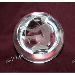 Strzelec - szklana rzeźbiona półkula POZ02 Antyki i Sztuka