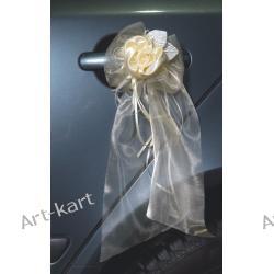 Bukiecik biały z organzy z satynową różą 2szt / biały lub kremowy Zaproszenia, zawiadomienia