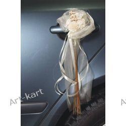 Bukieciki z organzy i kwiatuszków na klamki 2szt / kremowy Zaproszenia, zawiadomienia