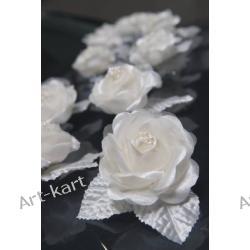 Satynowe róże z perełkami na przyssawce 10szt / kremowe Zaproszenia, zawiadomienia