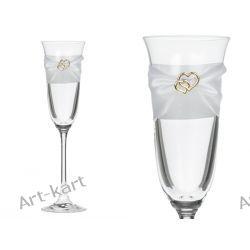 Kieliszki do szampana z długą nóżką - złote serca / 2szt  Zaproszenia, zawiadomienia