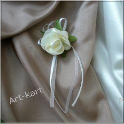 Kotylion bukiecik z satynową kremową różą / 10szt  Zaproszenia, zawiadomienia