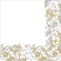 Serwetki Dunilin białe /złoto-szary nadruk 40x40cm - 50szt Zaproszenia, zawiadomienia