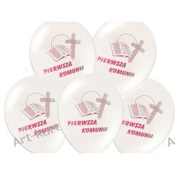 """Balony 12"""" komunijne z nadrukiem różowym / 6szt Zaproszenia, zawiadomienia"""