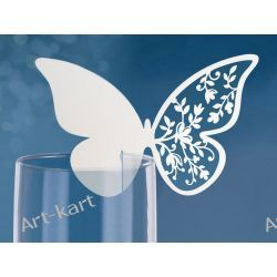 Wizytówki (winietki) na kieliszki motyle ażurowe WSZ6/ 10szt Zaproszenia, zawiadomienia