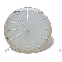 Wspaniały Szklany Zegar 35cm z Lustrzaną Obwódką Zegary