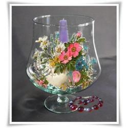 Kielich świecznik szkło wazon szklany 21cm  ślub