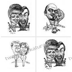 Karykatura czarno-biała, 2 osoby