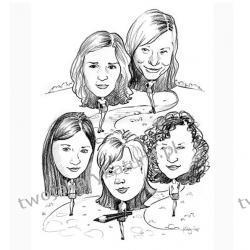 Karykatura czarno-biała, 5 osób