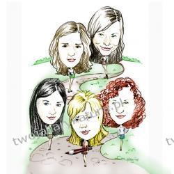 Karykatura kolorowa, 5 osób