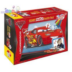 Kreatywne puzzle dwustronne Gigant 33 el + flamastry Liscianigiochi - z bajki Cars Auta...