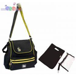 Modna i praktyczna torba na akcesoria, z przewijakiem Bam Bam czarno zielona...