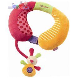 Bezpieczna podróż - zagłówek samochodowy z grzechotką dla dziecka Fehn Explorer - zajączek...