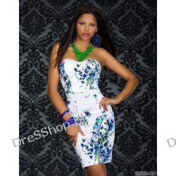 Elegancka biała sukienka w kwiaty rozm. S 36