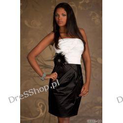 Cudna czarno biała sukienka z broszką rozm. S