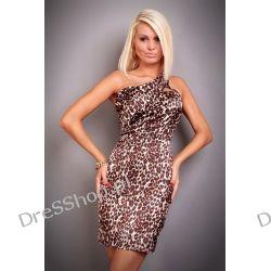 Sukienka panterka na jedno ramię rozm. S 36