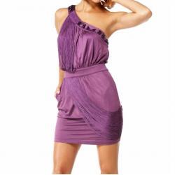 Lux mini asymetryczna sukienka BEBE na jedno ramię z frędzlami