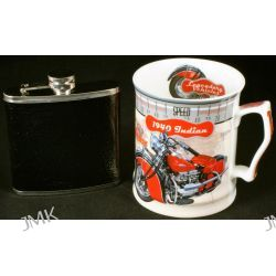 Kubek Motocykl+piersiówka Indian 450ml.