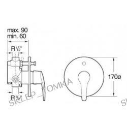 Bateria wannowo-natryskowa Roca Monodin podtynkowa (automatyczny przełącznik)