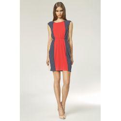 NIFE Letnia 3 kolorowa sukienka S/47 koral