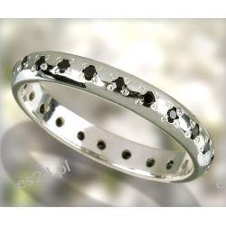Delikatna obrączka srebrna z oprawionymi wokół czarnymi cyrkoniami