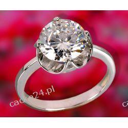 Srebrny pierścionek z dużą okrągłą cyrkonią o śednicy 10mm