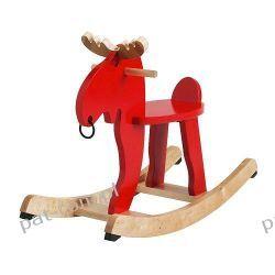 IKEA EKORRE Łoś na biegunach, czerwony, drewno kau
