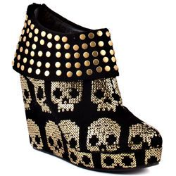 buty na koturnie IRON FIST - GOLD STAR WEDGE (BLACK/GOLD) (IFL1044)