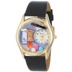 Skurril Uhren C-0610005 Womens Apotheker schwarzem Leder und Goldton Uhr