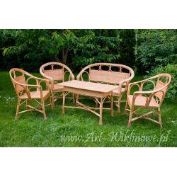 Meble ogrodowe z wikliny, stół, trz krzesła i sofa