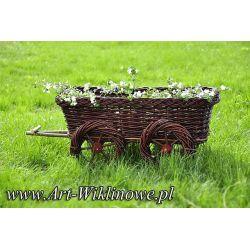wóz donica ogrodowa ozdoba na kwiaty z wikliny