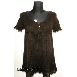 ŚLICZNA bluzka żakardowa z mocherku brąz rL(40) Odzież damska