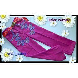 Spodnie sztruks modne kolory128/134(9/10L)róż Bluzki